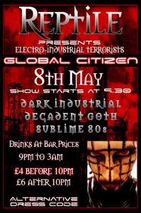 Flyer for Global Citizen at Club Reptile 8th May