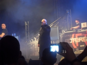 Ronan Harris of VNV Nation performing with Rotersand